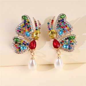 FASHIONSNOOPS na moda Cristal Insect Pendant brincos para mulheres pérolas charme Declaração jóia do casamento Brincos Feminino 2020