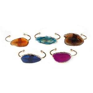 dankaishi Fashion Halb Open Gold Farbe Armband jedes Handgelenk Größe für Frauen Natursteinfarbe Quarz-Kristall-Schmuck