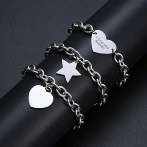 Hot sale 316L stainless steel heart and star pendant charm bracelet fashion classic titanium steel chain bracelet for women low price