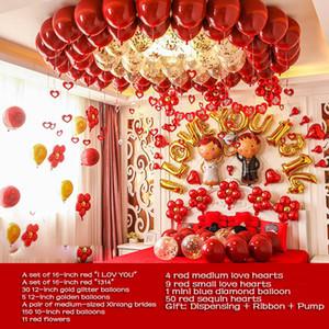 2020 Wedding balloon combination 10 inch pomegranate red latex ball wedding new home bedroom layout balloon set wedding room decoration