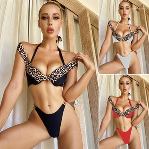 Fashion Beach Wear Women Sexy 2pcs Leopard Bikinis Summer Partchwork Iron Ring Halter Swimwear Females Slim