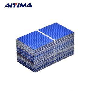 AIYIMA 100PC لوحة الطاقة الشمسية أحد خلية خلية صن باور للطاقة الشمسية الكريستالات الضوئية DIY شاحن البطارية الشمسية 0.5V 0.225W 52 * 26mm و