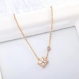 Catene Brand Women Jewelry Temperament Titanio Collana in acciaio in acciaio Petalo Ciondolo Zircone Catena Clavice Catena corta Collo Moda