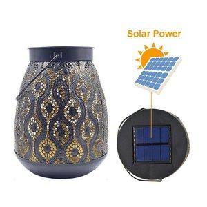 Cgjxs Güneş Enerjisi Bahçe Fener Demir Fener Işık Hollow Out Desen Mum Işığı Bohemya Lambası İçin Açık Porch Asma