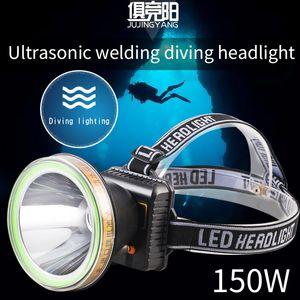 High Power LED de 150W Mergulho Farol Piscina Pesca IPX8 Waterproof Farol alta Lumen recarregável