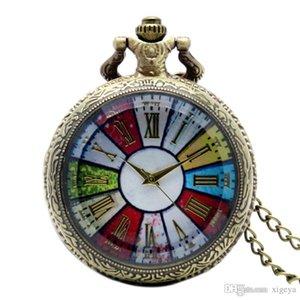 Cadena Dial Cgjxs -Colorful al por mayor de los números romanos del cuarzo del collar del reloj de bolsillo de la vendimia de cristal claro de la caja Fob El envío gratuito Relojes