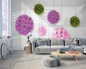 3d Wall Paper for Bedroom Romantic 3D Rose Ball Creative Mural Background Wall Romantic Floral 3d Wallpaper
