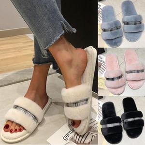 2020 zapatos de las mujeres calientes de la tela escocesa Colores sólidos felpa suave zapatillas Interior Floor Bed Room Zapatos zapatos de mujer tacon bajo # y3