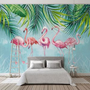 Photo Wallpaper Nordic Style Tropical Plants 3D Green Leaf Birds Wall Painting Living Room Bedroom Home Decor Papel De Parede 3D