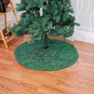 Promoción - 48 pulgadas de felpa verde del árbol de navidad delantal falda del árbol de navidad de la alfombra Decoraciones para el hogar de Navidad Año Nuevo De