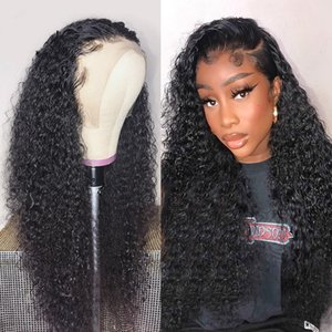 Curly Human Hairs Wigs Brazilian Remy Hair PrePlucked With Baby Hairs Lace Front Human Hair Wigs For Black Women Deep Wave Wigs