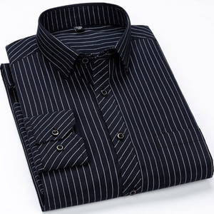 Plus Size 6XL Men's Striped Dress Shirts Long Sleeve Brand Clothing Social Work Non-iron Formal Business Men Smart Casual Shirt T200914