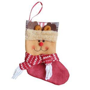 Cute Christmas Tree Ornaments Supplies Non-Woven Fabric Sock Shape Children Christmas Gift Bag Kids Candy Bag Drop Shipping