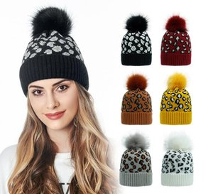 Women Hat Leopard Print Warm Knitted Hat Beanies For Ladies Fur Ball Hat Autumn Winter Female Cap Black White 2020
