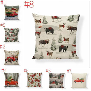 Pillow Case Christmas Pillow Covers Xmas Tree Throw Pillow Case Red Car Printing Case Sofa Couch Cushion Cover Christmas Decoration