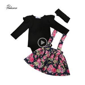 Herbst-Babykleidung stellte Kind-Baby Hochzeit Festzug-Partei Prinss Blumen Tutu-Rock-Kleid + balck Spielanzug Mädchenkleidung Y190515