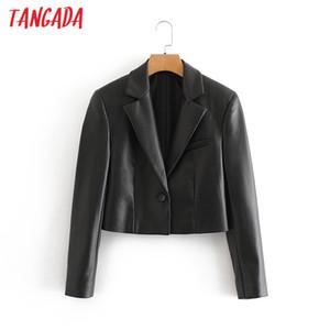 여성 긴 소매 재킷 숙녀 캐주얼 재킷 정장 QN2 재킷 Tangada 2020 가을 겨울 여성 블랙 인조 가죽 작물