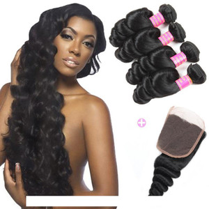 H Wholesale 8a Peruvian Loose Wave 4 Bundles With Closure Free Middle 3 Part Double Weft Loose Deep Wave Wavy Virgin Human Hair Extensi