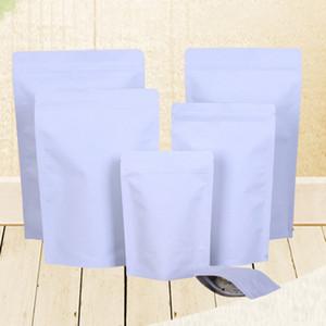 11sizes blanca de papel Kraft Bolsas se levanta la bolsa Ziplock bolso al por menor de la categoría alimenticia prueba de humedad para el bocado de la galleta grano de caramelo bolsa de embalaje antes de Cristo BH4084