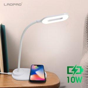 LAOPAO 10W QI inalámbrica rápida de carga Tabla LED lámpara de escritorio portátil de ojos Protect 360 grados flexible de control táctil luz de la noche