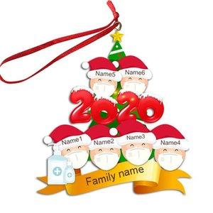 2/3/4/5/6 Aile Yüz Maskesi Noel Süs Kişiselleştirilmiş Karantina Noel Ağacı Pendents Noel Ev Partisi Dekorasyon Hediyeler F91601