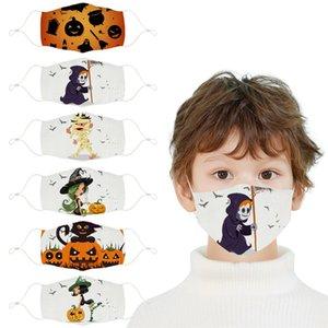 Halloween Kinder-Maske, Kürbislaterne, hexe, weiße Baumwollmaske, staubdicht und anti-haze Mode Digitaldruck Cartoon abwaschbar win