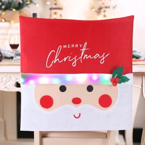 Flashing Glow Christmas Chair Covers Santa Claus Chair Back Cover Christmas Decoration For Home New Year Decor Seat Slipcover DBC BH4046