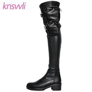 Cep Stretch Over The Knee Boots Kadınlar Casual Bel Kemeri Batı Uzun Çizme Kadın Motosiklet Chunky Topuk Uyluk Yüksek Önyükleme