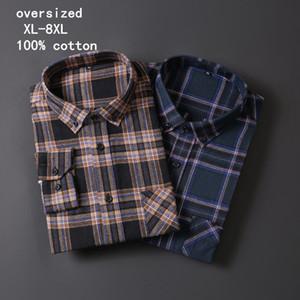 남성의 큰 사이즈 긴 소매 셔츠 7XL 8XL 패션 비즈니스 격자 무늬 전문 저녁 식사 캐주얼 셔츠 (대형 플러스 사이즈)