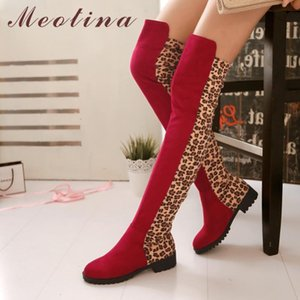 Meotina Kış Over The Knee Boots Kadınlar Leopard Düz Dizden sonra Cizme İnce Stretch Yuvarlak Burun Tall Ayakkabı Lady Sonbahar Boyut 33-43