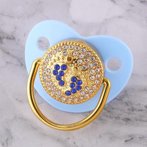 Cor azul bebê Chupetas pé 0-18 meses BPA grátis Bling Chupetas Grade Soother do bebê bocais