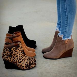 Scarpe a punta Booties inverno del leopardo delle donne Stivaletti stringati Calzature tacchi alti piattaforma dei cunei della donna dei pattini Bota Feminina LJ200904