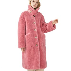 2019 Winter New Fashion Womens Wool Coat Long Style Female Thick Fur Outerwear Real Ladies Sheep Fur Coat T200908