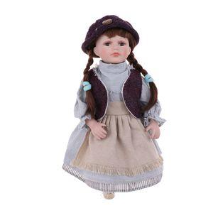 Poupée 16inch Céramique Assis victorienne élégante Porcelain Doll Décoration Enfants Enfants Adultes Cadeau de Noël # 4
