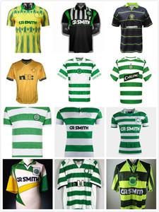 rétro 1980 1991 1992 1995 1997 1998 1999 maillots de football Celtic 95 96 97 99 91 LARSSON NAKAMURA KEANE 92 jaunes celtiques chemises de football Sutton