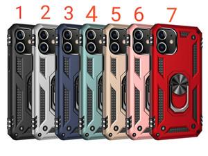 Rüstung Telefon-Kasten für iphone12 12pro 12proMAX 12max 11 11Pro 11PROMAX 2in1 PC TPU mit Ring-Halter-Auto-Metall-Patch