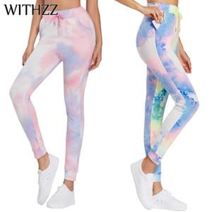 Workout WITHZZ estiramento Quick-seco Sports Calças flexíveis fêmeas da aptidão cintura alta Tie Dye Leggings Casual