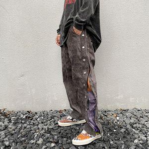 High Street Bouton latéral Imprimer Pantalon baggy Suede Hommes Pantalons simple Drawstring droite loose Hip Hop Pantalons Oversize