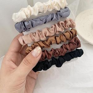 6pcs Moda Scrunchie Hairbands solido raso di colore elastico del Ponytail legami dei capelli del regalo fascia per il partito delle ragazze delle donne di favori 2 2yq E1