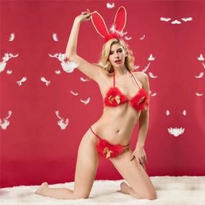 Creux Sexy Bunny Girl Vêtements cosplay peluche rouge femmes érotique lingerie sexy costumes uniformes trois points Tentation