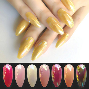 Brillante Leon Giallo Ballerina falso Nail Coffin Gradeint naturale falsi Nastri Nails all'ingrosso Chiodi colla su adesivo libero