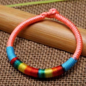 8-Color Chinese Elements handgemachter bunter geflochtenen Seil Armband Tibetische Dorje Knot Regenbogen-farbige glückliche Paar Armband