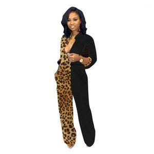 Donne delle tute casuali del progettista delle donne regolare copre le donne delle tute pagliaccetti Leopard Patchwork manica lunga con scollo a V