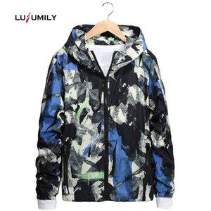 Lusumily Frühlings-Herbst-Jacken Damen-Windjacke Puls Größe M-7XL Mode Sport Tactival Graffiti Kapuzen Windbreake