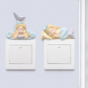 INS Cross-Border Cartoon The Little Mermaid Switch Stickers Home Childrens Room Wall Stickers Wall Switch Board Resin Ornament