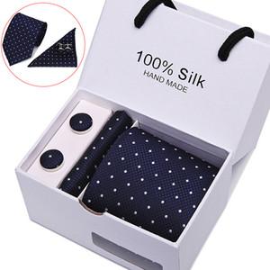 Plaid Men Ties Set Extra Long Size 145cm*7.5cm Necktie Navy Blue Paisley Silk Jacquard Woven Neck Tie Suit Wedding Party