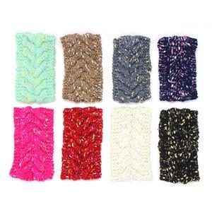 Colorful Bronzing a maglia fascia per le donne inverno caldo lana all'uncinetto Turbante headwraps Hairbands delle donne che lavora a maglia Accessori per capelli