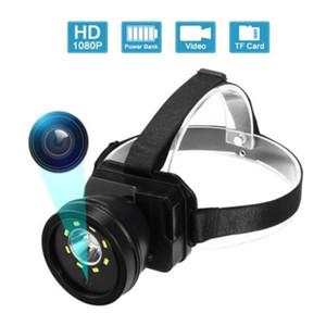 Mini macchina fotografica 1080P corpo miniera di testa ha condotto la luce di usura Banca di potere impermeabile Video Gadget Micro camere videocamera Dvr Minicame
