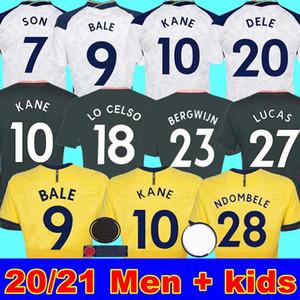 20 21 BALE 9 KANE 아들 BERGWIJN NDOMBELE LO CELSO 축구 유니폼 2020 2021 LUCAS DELE 토트넘 유니폼 축구 키트 셔츠 남성 + KIDS 키트