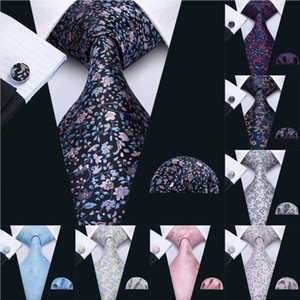 2020 New 8.5cm Necktie 100% Silk Mens Tie 10 Colors Floral Ties For Men Wedding Barry.Wang Business Style Dropshipping Tie LS-10